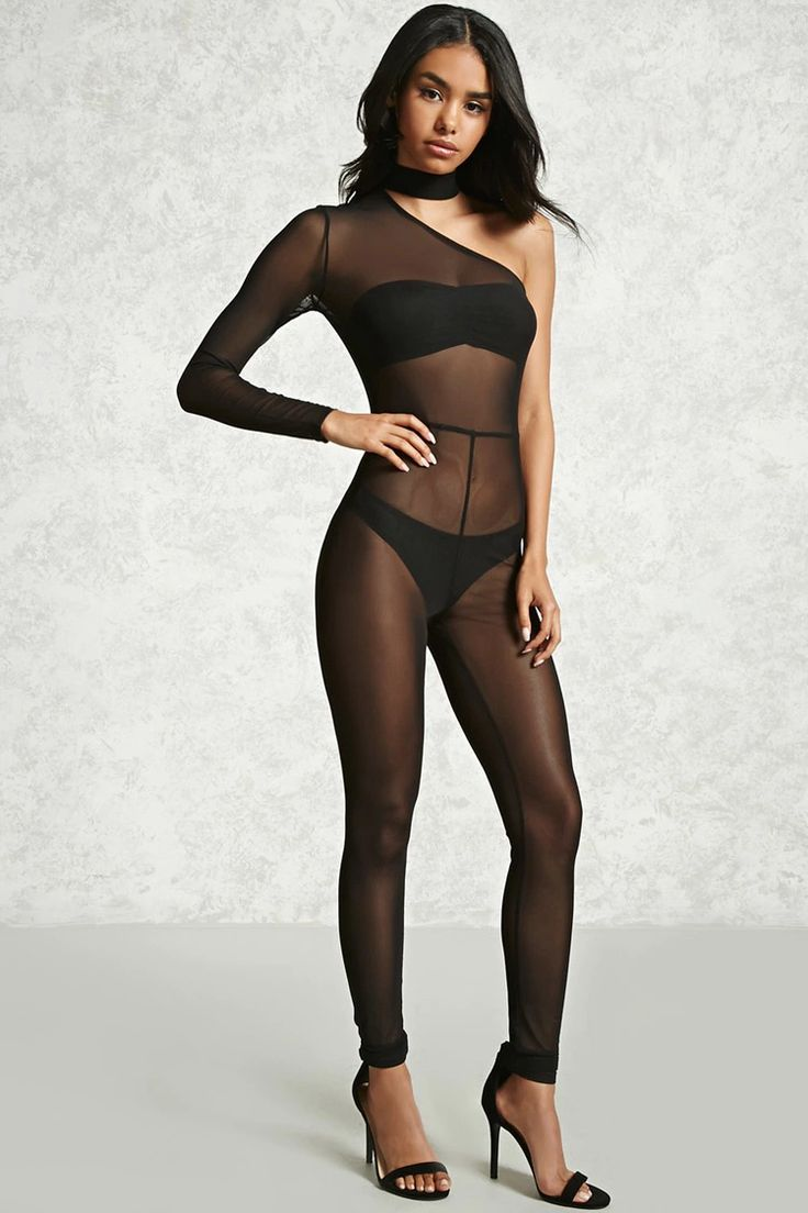 A sheer mesh knit jumpsuit featuring a one-shoulder design, a choker neck detail, a back zip closure, and paneled seams.<p>- Layering garments not included.</p>