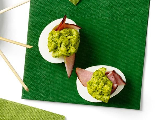 Emerald Eggs #FNMag: Food Network, Fingers Food, St. Patrick'S Day, Green Eggs, Emeralds Eggs, Eggs Recipes, Deviled Eggs, Foodnetwork, Devil Eggs