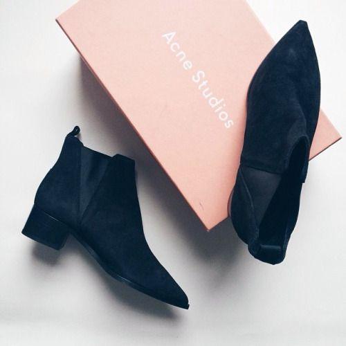 Acne black boots.