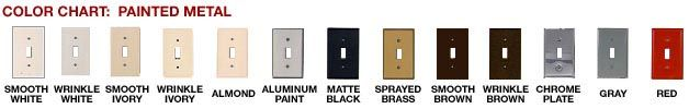 """Paintable Metal Face/Switch plates.  Choose """"wrinkled"""" and there's no priming, no rubbing off, just something that melts into your décor.  These are fantastic."""