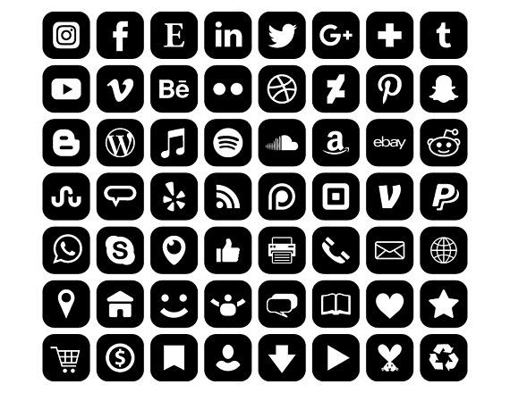 Square Social Media Icons Set Png Svg Vector Transparent Etsy Iphone Photo App Ios App Icon Social Media Icons