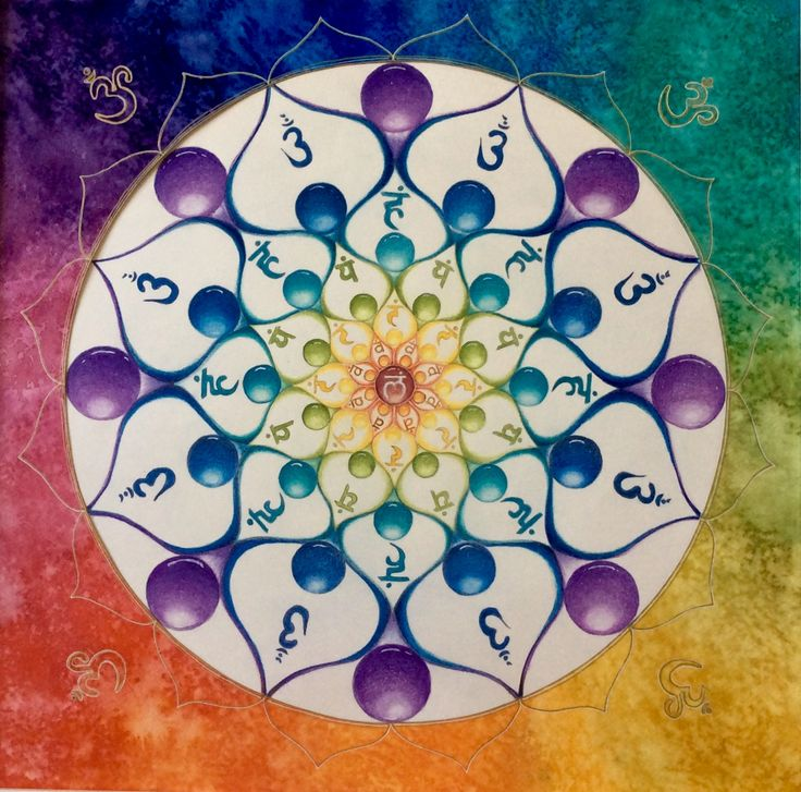 Mandala lotus, chakra healing Aquarel Made by Els van der Lugt 23-7-2017