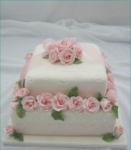 2 tier no stacking, fondant covered cake with pink roses, scrolling cake