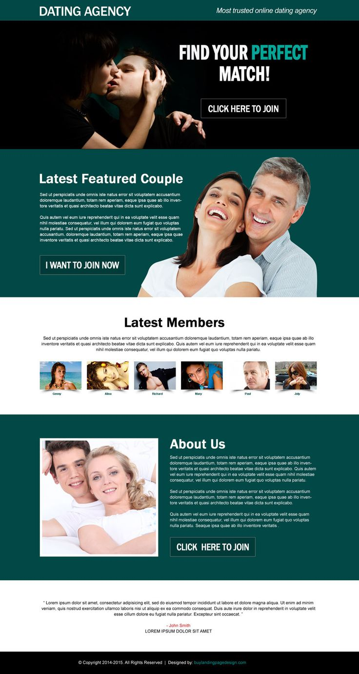 perfect match online dating agency effective call to action landing page design