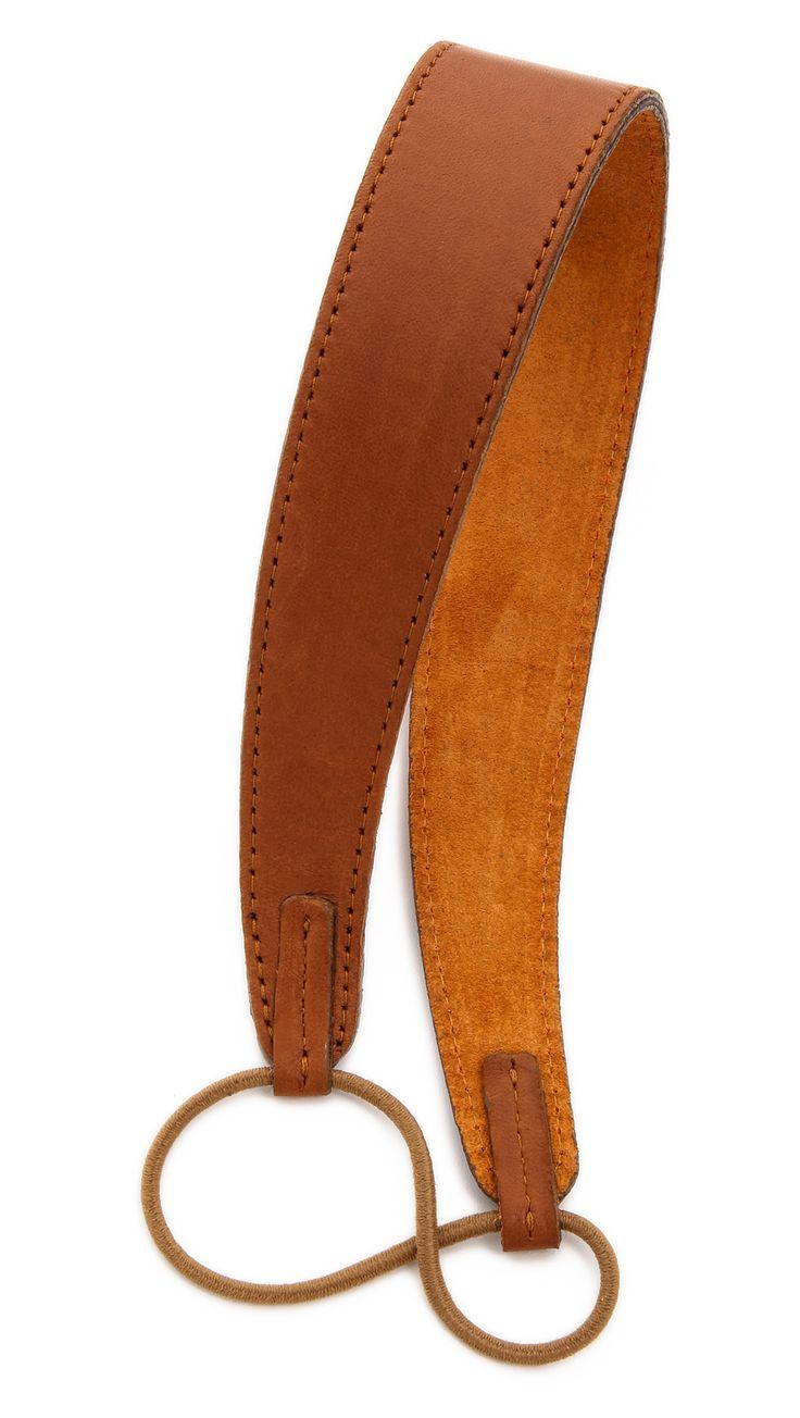 Jennifer Behr Leather Headband - Black in Brown (Cognac)