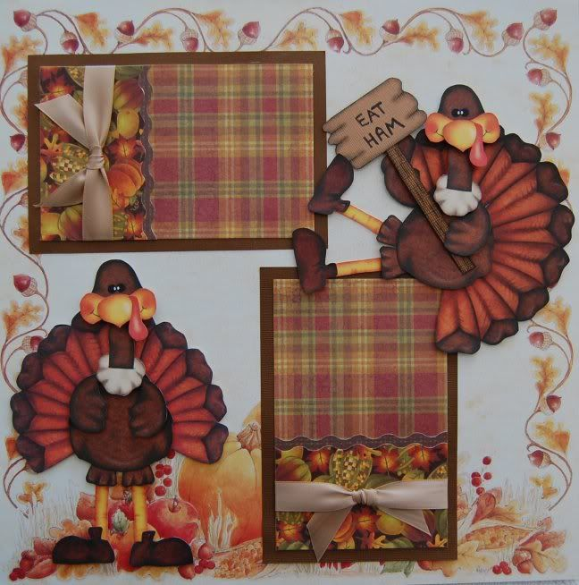 Thanksgiving scrapbook layouts | THANKSGIVING w/ Turkey Paper Piecings - Premade Scrapbook Pages - SSFF ...