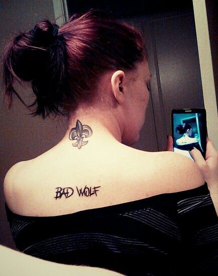 My new Bad Wolf tattoo love me some Doctor Who :-)