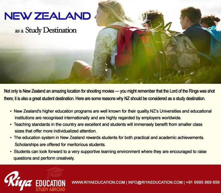 New Zealand as a Study Destination!!! For more details and guidance on study abroad programs, get in touch with Riya Education. Visit our website http://riyaeducation.com/contact/ #studyinnewzealand #overseaseducation