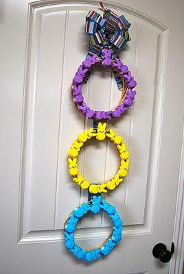 Peeps wreath-love the variety of colors. #Wreath #PeepsEaster Peep, Paisley Passion, Decor Ideas, Peep Wreaths, Easter Crafts, Easter Bunnies, Wreaths Ideas, Easter Ideas, Spring East