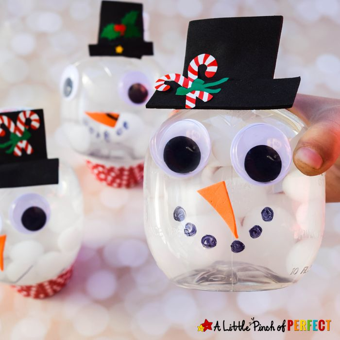"Kids can make a Snowman snow globe craft with our clever way of turning a recycled bottle into an adorable craft using our latest favorite winter themed sensory supply. Each snowman snowglobe will look so cute and your kids will love shaking them up and swirling them around to watch the ""snow"" inside swirl around …"