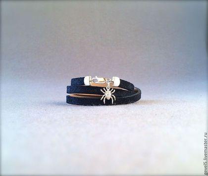 Замшевый браслет, темно-синий. - тёмно-синий,синий цвет,синий браслет