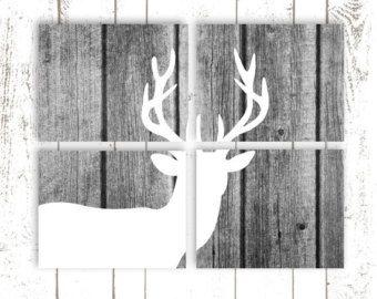 Deer Art, Deer Prints, Faux Wood Background, Set of Four 8x10 Prints on Paper, Deer Silhouette, Rustic Home Decor