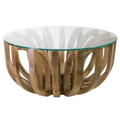 Lotus Glass Top Solid Teak Timber Round Coffee Table - Large