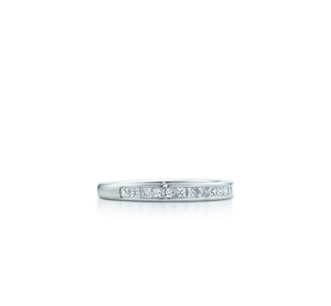Perfect Tiffany channel set wedding band with half circle Princess Cut diamonds