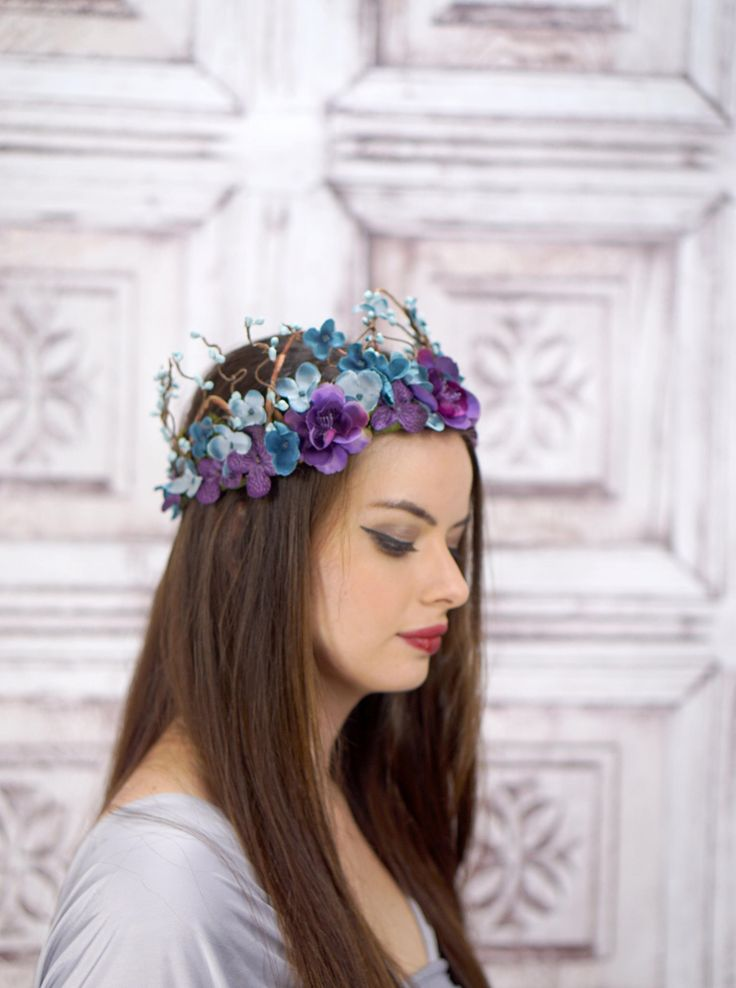 Woodland Crown, Blue and Purple, Flower Crown, Circlet, Headdress, Headpiece, Fairy Crown, Elven Crown, Bridal Headpiece, Wedding, Boho by RuthNoreDesigns on Etsy