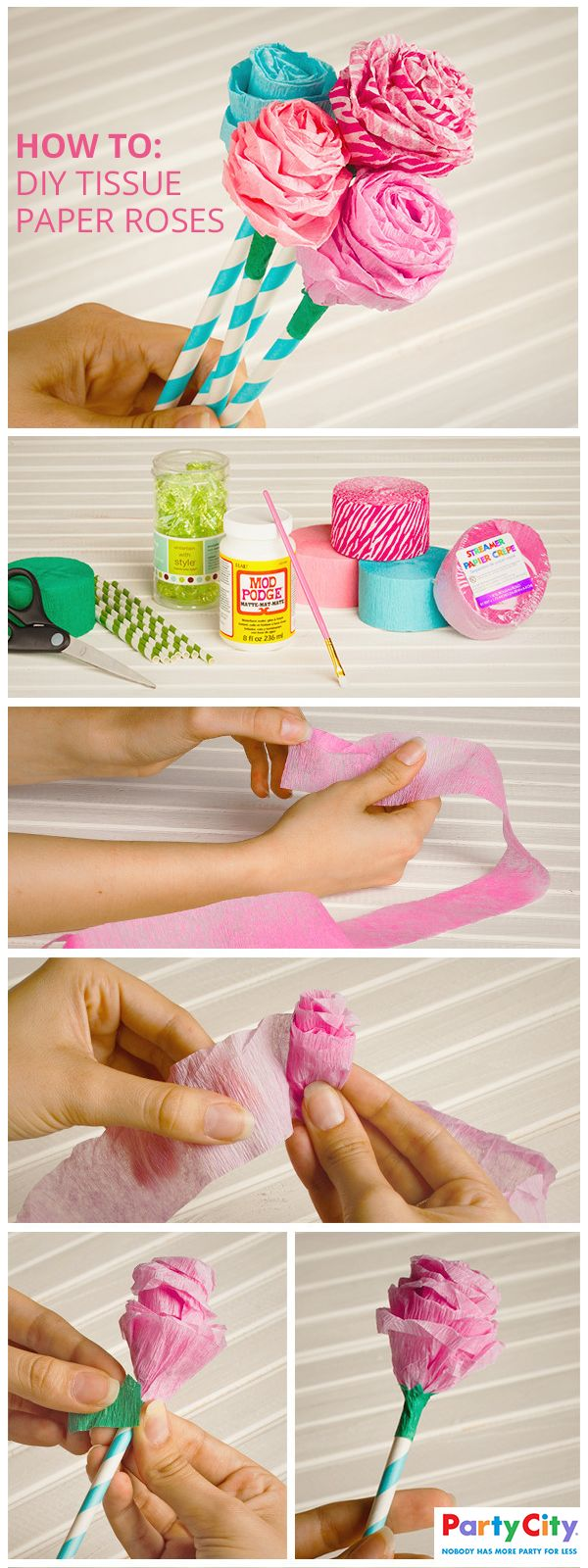 Looking for a fun and cute way to add a DIY touch to that next birthday party or baby shower? Transform crepe paper streamers into adorable tissue paper flowers to make beautiful additions to your tablescape or sweet party favors for your little ones. Party City is home not only to all your party supplies but creative and fun ideas of how to make the most out of them. Join the party and shop all your essentials at PartyCity.com.