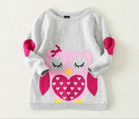 Becky Long Sleeve Cotton Knitted Cartoon Owl Sweater
