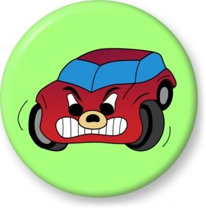 Red angry car comic vector drawing - Button Badge - Brooch - Gift