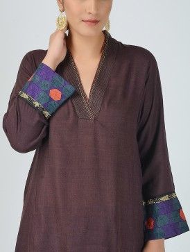 Brown V-neck Embroidered Matka Silk Kurta with Patchwork