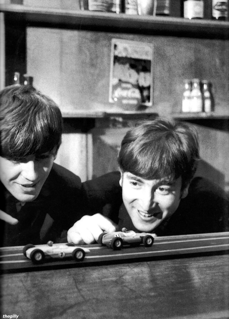 Backstage at the Coventry Theatre on 17 November 1963 playing with scalextric toy cars. Photo by Terence Spencer.