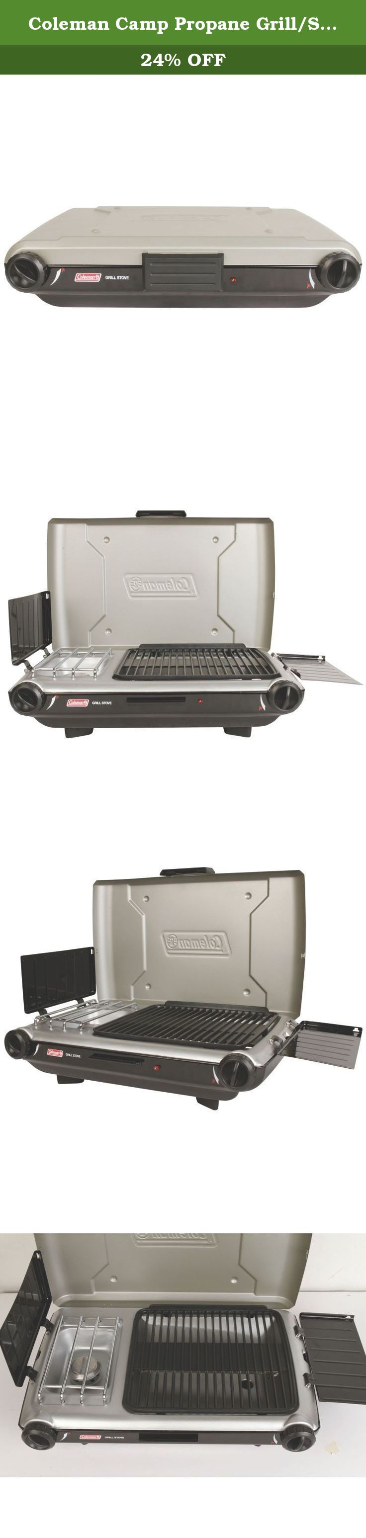Coleman Camp Propane Grill/Stove. Sauté veggies while you're grilling up chicken, or get the soup going while you're cooking up burgers when you pack the propane-powered Coleman Camp Propane Grill/Stove+. Just hit the Instastart push-button ignition to get things going on this durable, steel-crafted outdoor appliance that offers camp cooks a grill and stove at the same time. The stove surface fits a 10-in. pan, and the 130-sq.-in. grill area offers plenty of room. The stove and grill…