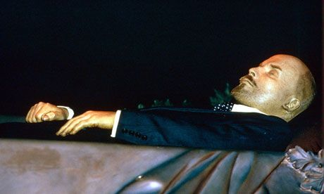 Lenin's preserved body, on display as it is today at the Lenin mausoleum in Red Square. Creepy to see but the tradition.