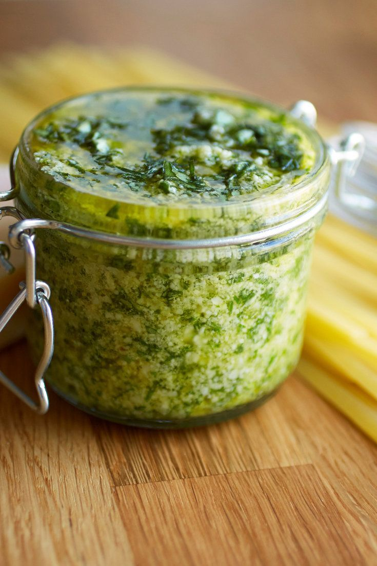 Pesto is the most rustic of the new mother sauces. The key to making creamy pesto is to add the ingredients to the food processor in the right order to ensure that the nuts break down to a fine paste before the greens have a chance to turn brown. (Photo: