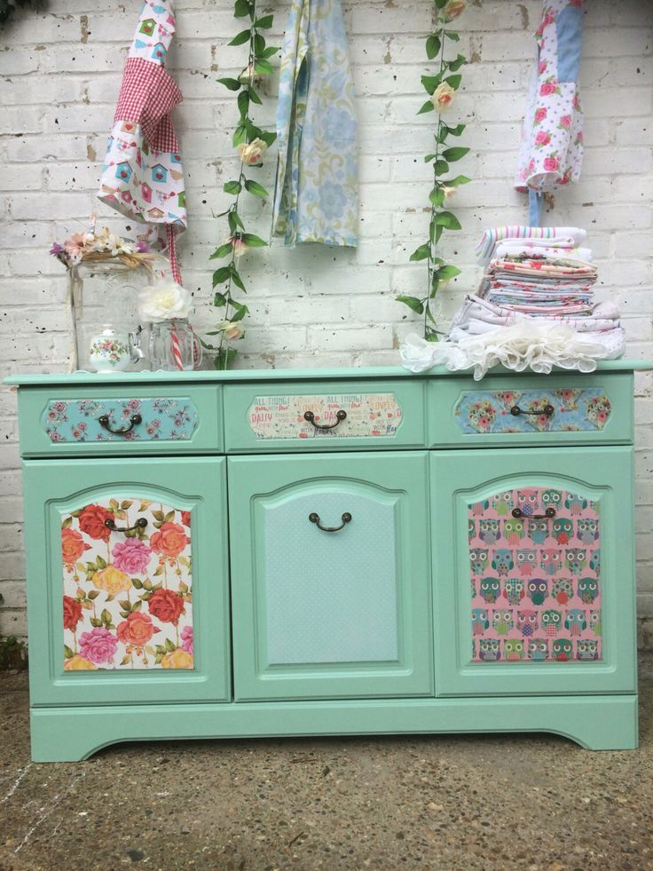 Shabby chic Sideboard à la Pinterest, in chalk paint and decoupage. by Prettywittynellie on Etsy https://www.etsy.com/uk/listing/456358088/shabby-chic-sideboard-a-la-pinterest-in My first shabby chic, upcycled, decoupage sideboard /dresser. I love the finish on this.