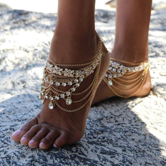 Gold Barefoot Sandals with gold chains for boho by ForeverSoles