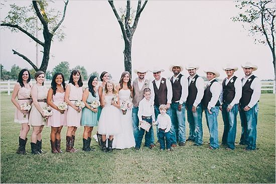 Cowboy Wedding but girls in turquoise dresses!!!