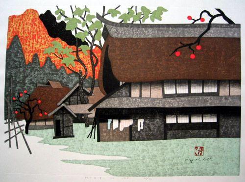 A painting of Aizu by Japanese artist, Kiyoshi Saito