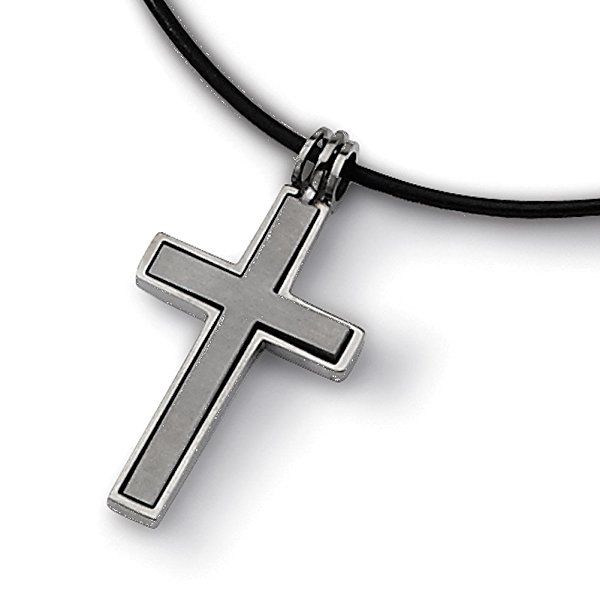 "Chisel Titanium Leather Cord Cross 18in Necklace 18"" TBN100-18"