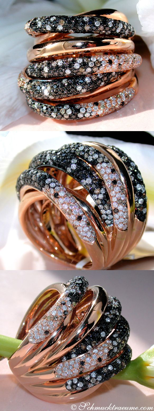 High-end: Brown, White & Black Diamond Ring, 4,27 cts. RG-18K - Visit: schmucktraeume.com - Like: https://www.facebook.com/pages/Noble-Juwelen/150871984924926 - Mail: info@schmucktraeume.com