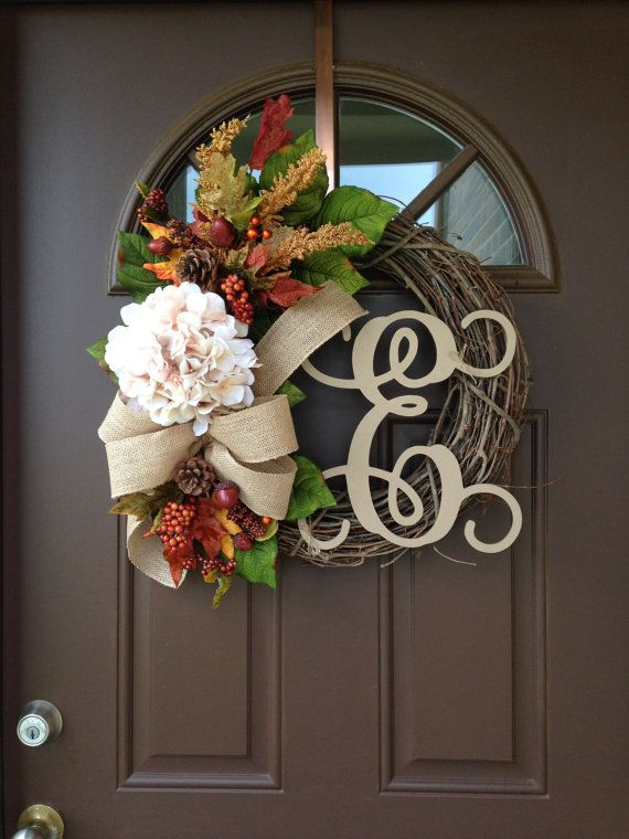 Fall Wreath for Front Door Personalized Autumn Wreath by Flowenka