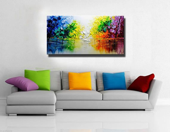 árbol colorido de pared contemporánea arte pintura de la