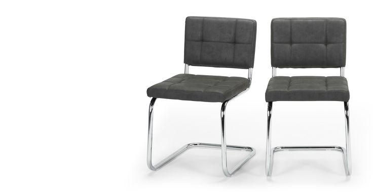 2 x Aston Dining Chairs, Raven  Black