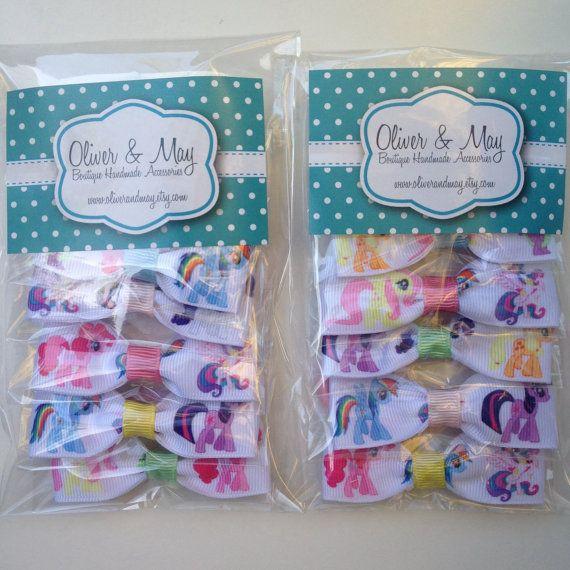 My Little Pony Birthday Party Favor Elastic Hairbow Ties 12 Pack  MLP Twilight Sparkle Princess Celestia Fluttershy Rarity Pinkie Pie