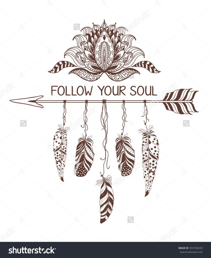 Hand drawn boho style design with lotus flower, arrow and feathers. Fashion decoration for t-shirt or tattoo. Ethnic Style with motivate Slogan .