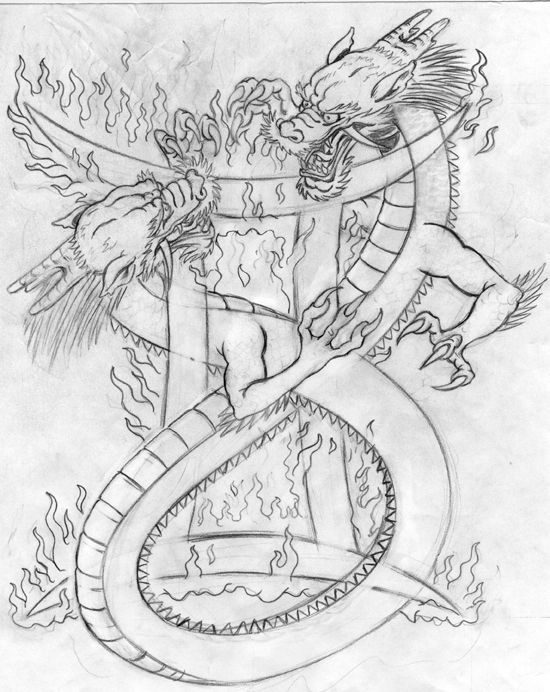 gemini dragons sketch by tattoos that i love pinterest dragon sketch. Black Bedroom Furniture Sets. Home Design Ideas