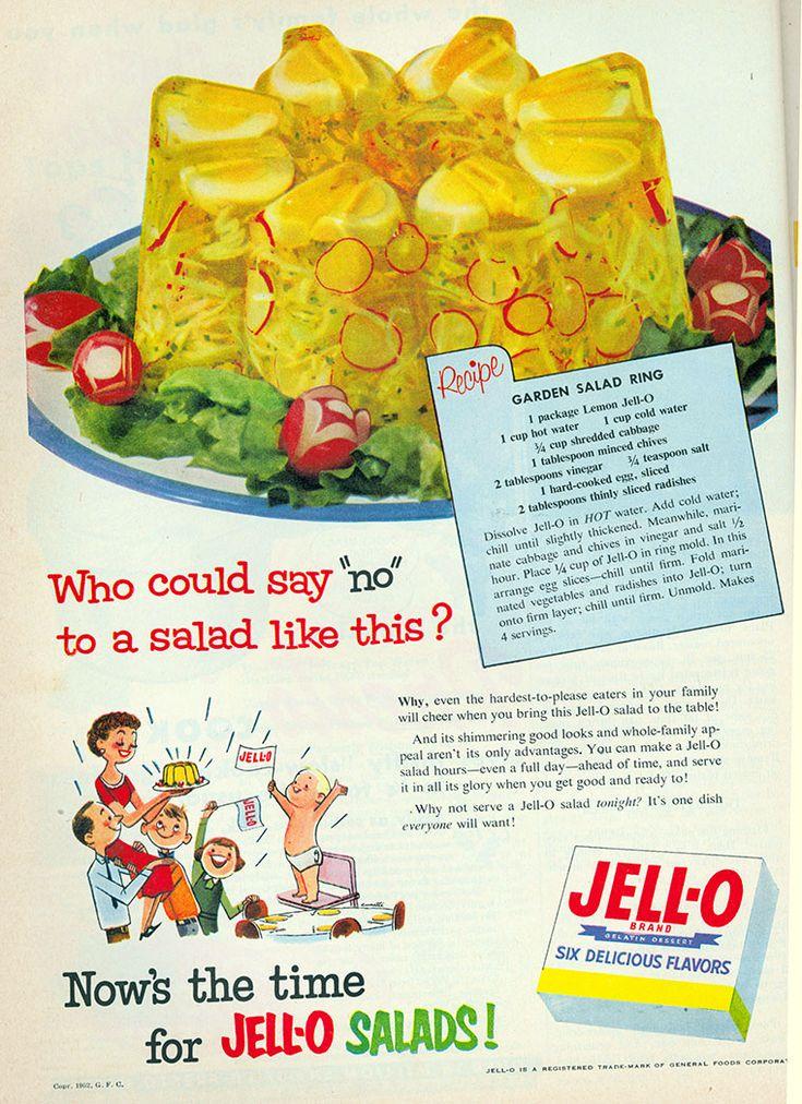 "Jell-O Garden Salad Ring Recipe from ""Good Housekeeping"" | September 1952"