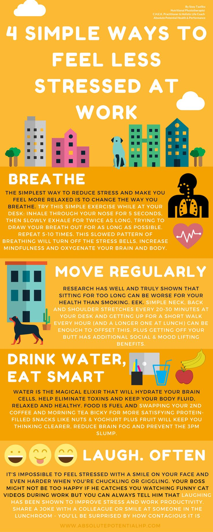 4 simple ways reduce stress at work - by Absolute Potential Physio & Life Coach