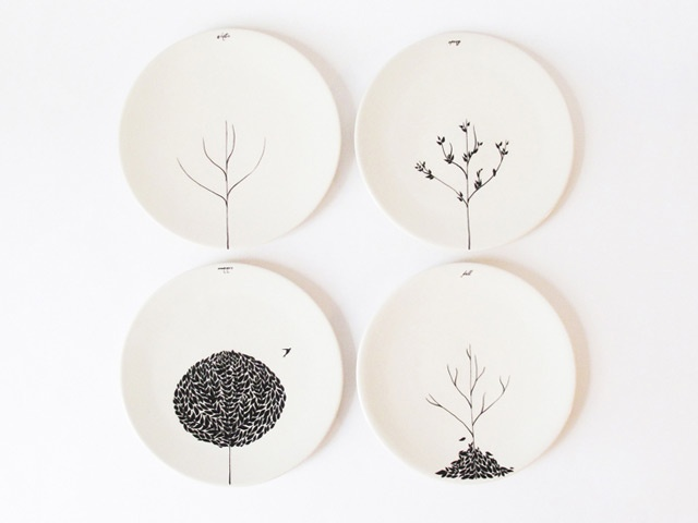 KitchenPlates Art, Kitchens Wall, Seasons Plates, White Plates, Trees Design, Plates Sets, Wall Plates, Plates Wall, The Four Seasons