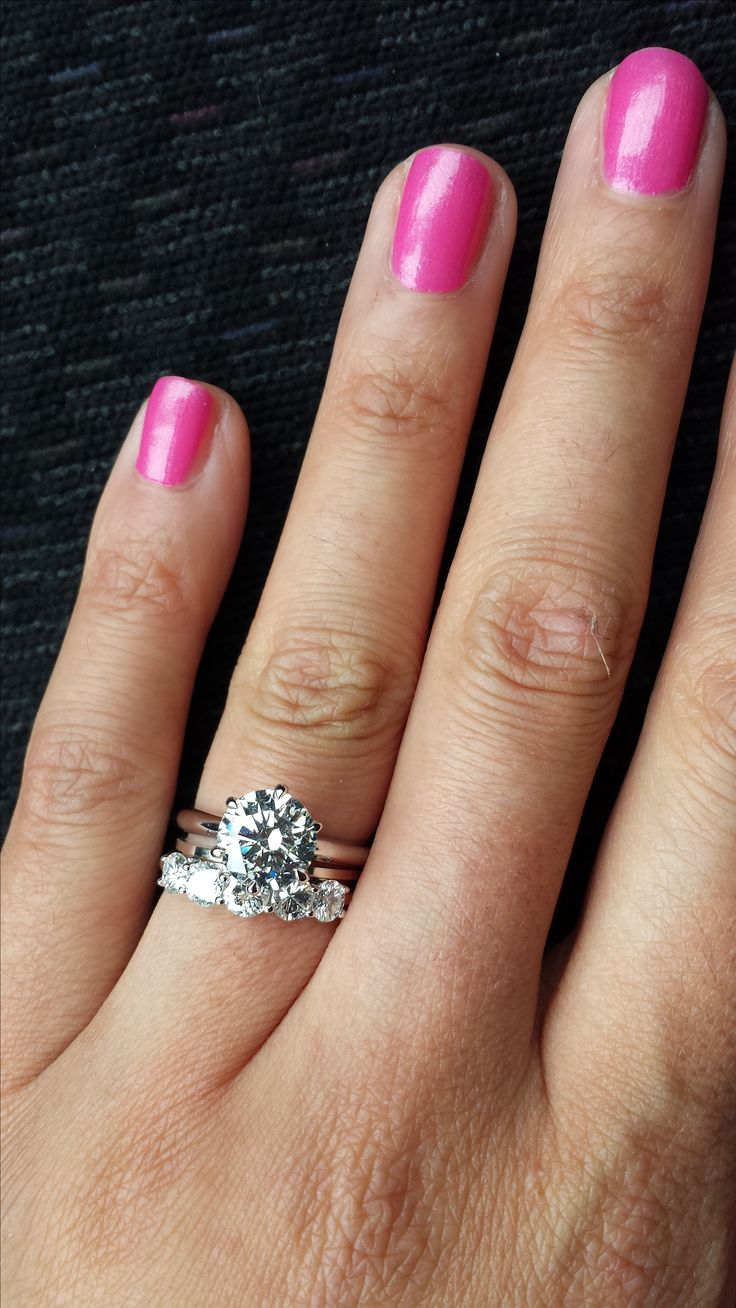 Thin Engagement Ring Band, With Thick Wedding Band