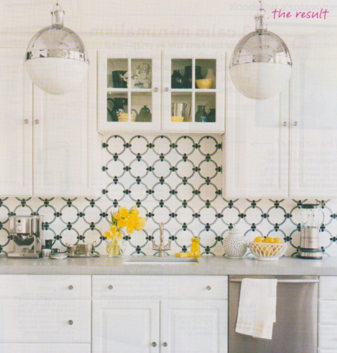 White Kitchen With Yellow Accents: Interesting Black And White Kitchen Back Splash With