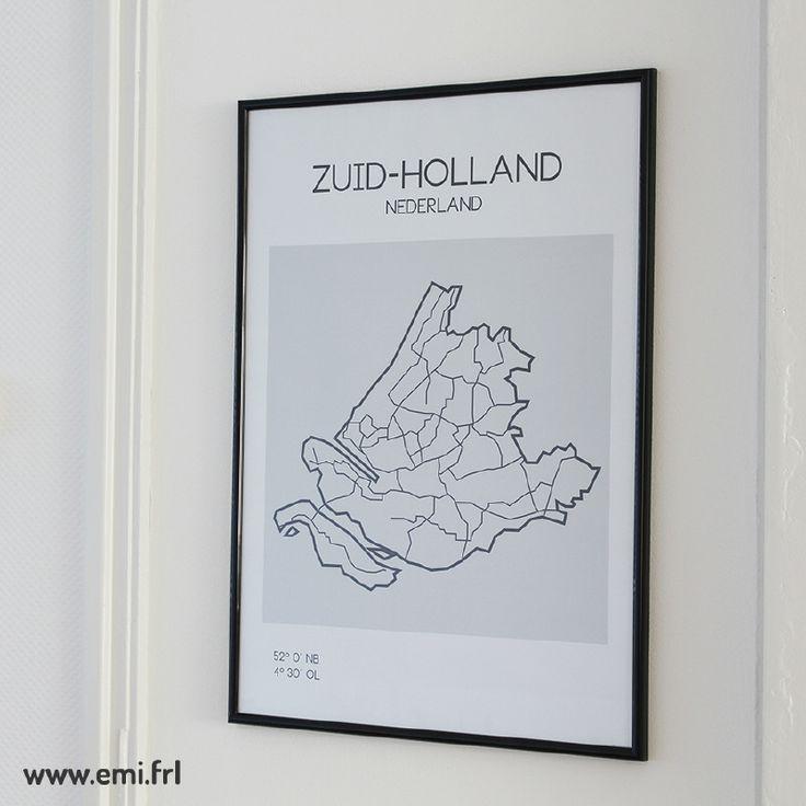 Zuid-Holland, plattegrond, minimalistische Scandinavische stijl, Emi.frl