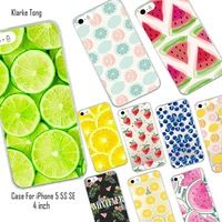 Lovely Candy Color Fruits Soft Case For iPhone 5 5S SE Transparent Silicone Phone Back Capa Fundas