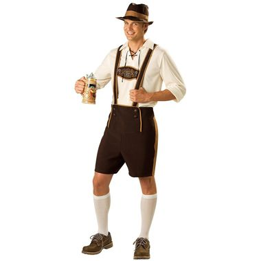 The costume's brown lederhosen come with a button apron at your lap that you connect your suspenders to. Gold trim runs the length of the shorts' legs as well as the suspenders. On the actual suspenders is a brown patch with an embroidered ornate German emblem. A white laced-up shirt with rolled-up sleeves gives you the look of a Bavarian drinker and the dark brown fedora has a gold band and brim that looks like it's seen more than its share of all-nighters â€&a...