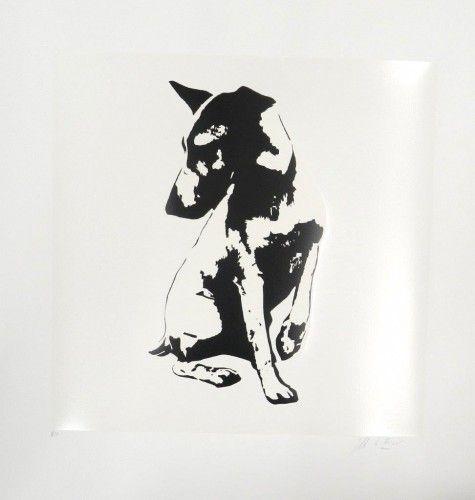 His Master is Voiceless white Serigrafía 74x72 cm Autor: Blek Le Rat 3 Punts Galeria #arte #artecontemporaneo #art #contemporaryart