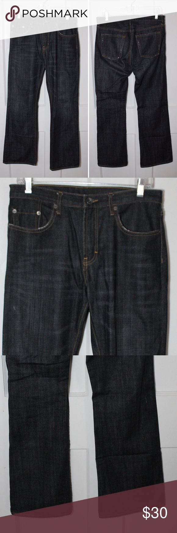 Banana Republic Mens Bootcut Jeans Banana Republic Mens Bootcut Jeans. Excellent condition. Minor fading from use. No rips or stains.  Size: 30/30 Waist: 16 Rise: 10.5 Inseam: 30 Leg opening: 9.5 Banana Republic Jeans Bootcut