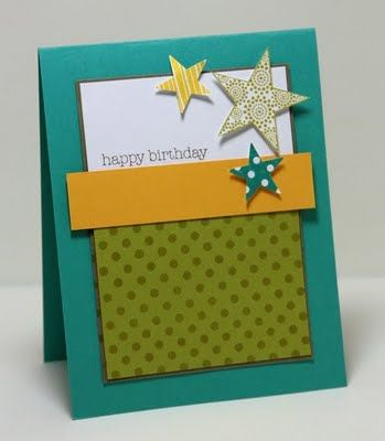 Stampin Up -- cute & simple. Great for a younger boy, with this color scheme.